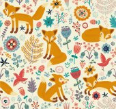 Seamless pattern with cute foxes — Stock Vector