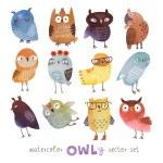 Watercolor vector set. Funny owls — Stock Vector #77622812