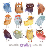 Watercolor vector set. Funny owls — Stock Vector