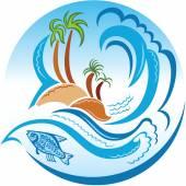 热带岛 — 图库矢量图片