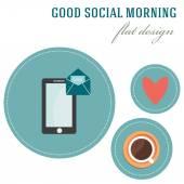 Good social morning — Vetor de Stock