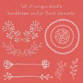 Set of hand drawn doodle floral vector elements — Vettoriale Stock