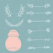 Set of hand drawn doodle floral vector elements — Stock Vector