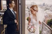 Wedding beautiful blond couple in restaurant — Stock Photo