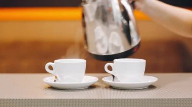 Professional coffee in a modern cafe coffee — Vídeo stock