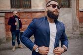 Twee bebaarde mannen mode — Stockfoto
