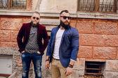 Two bearded men fashion — Stock Photo