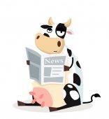 Cow with newspaper — Vetor de Stock