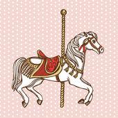 Рука нарисованные Карусель лошадь — Cтоковый вектор
