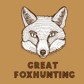 Hand drawn fox head — Vecteur