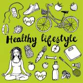 Healthy lifestyle set — Stock Vector