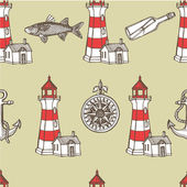 Hand drawn nautical vintage set — Stock Vector