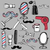 Retro barbershop set — Stock Vector