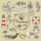 Hand drawn nautical vintage set — Stockvector