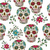 Skull with floral ornament — Stock Vector
