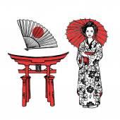Hand drawn set with geisha — Stock Vector