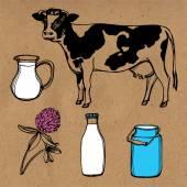 Hand drawn farm set — Stock Vector