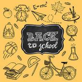 Skolmaterial och tillbaka till skolan Inskription — Stockvektor