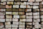 Stack of concrete pave block old — Stock Photo