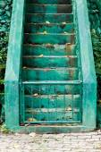 Sement stairs with green line for separated up or down — Stock Photo