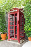 Red public telephone booth — Stock Photo