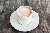 Mocha coffee hot on wood floors. — Stock Photo
