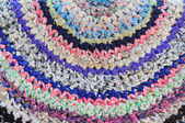 Knitted vintage handmade colorful round rug — Foto de Stock