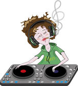 DJ is playing a music — Stock Vector