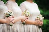 Bridesmaids on wedding party of their best friend — Stock Photo