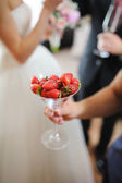 Nice and tasty strawberries on wedding reception — Stock Photo