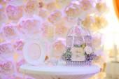 Wedding decor birdcage — Stock Photo