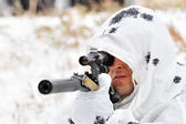 Sniper in camouflage smock with a rifle — Stok fotoğraf