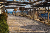 Old Town Nessebar Patio with Barrels — Stockfoto