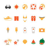 Summer Icons Set with White Background — Stock Vector