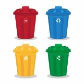 Many color wheelie bins set — Stock Vector
