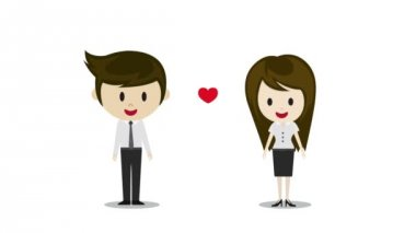 Cute couple in love holding hands, cartoon characters — ストックビデオ