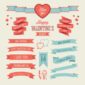 The Set of Valentine's Day Ribbons — Stock Vector