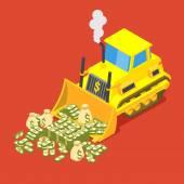 Bulldozed money — Stock Vector