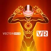 A man in a virtual reality helmet — Stock Vector