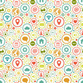 Seamless pattern with icons on various themes — Stock Vector