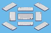 Isometric generic black computer keyboard with white blank keys — 图库矢量图片