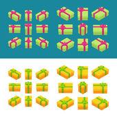 Izometrické barevné dárkové boxy — Stock vektor