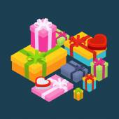 Isometric colored gift boxes — Stock Vector