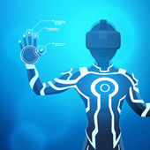 Man in a virtual reality helmet — Stock Vector