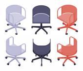 等尺性のオフィスの椅子の色 — ストックベクタ
