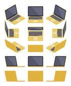 Isometric golden laptop — Vector de stock