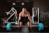 Muscular Men Lifting Deadlift — Stock Photo