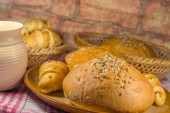 Bun and various pastry — Stock Photo