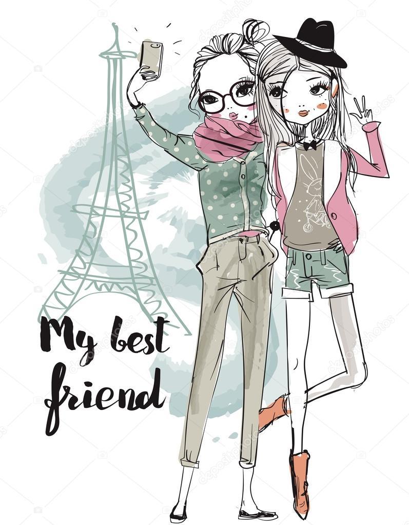 chicas de dibujos animados linda de moda archivo girls clipart shadow girly clip art free