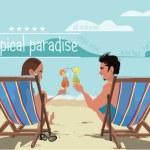 A couple taking sun bath on the beach. — Stock Vector #69819201
